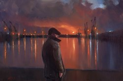 Dock Lights by Kevin Day - Original Painting on Stretched Canvas sized 30x20 inches. Available from Whitewall Galleries