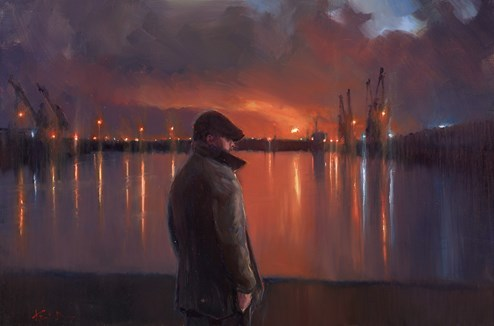 Dock Lights by Kevin Day - Original Painting on Stretched Canvas
